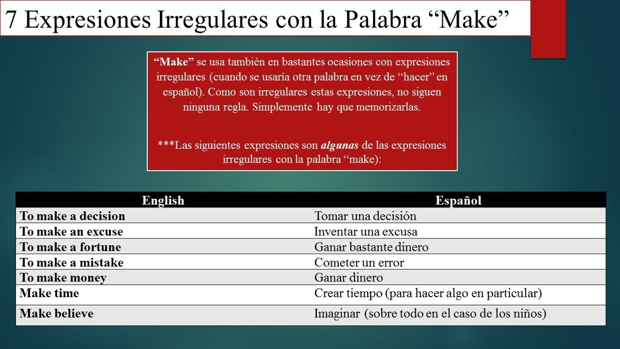 diferencia entre los verbos do and make